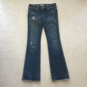 PAIGE SIZE 28 DISTRESSED BLUE JEANS BOOT CUT